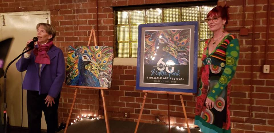 This year's poster is a mixed media peacock home run!  Me WANT!  :-)  Photo credit:  Winter Park Sidewalk Art Festival committee