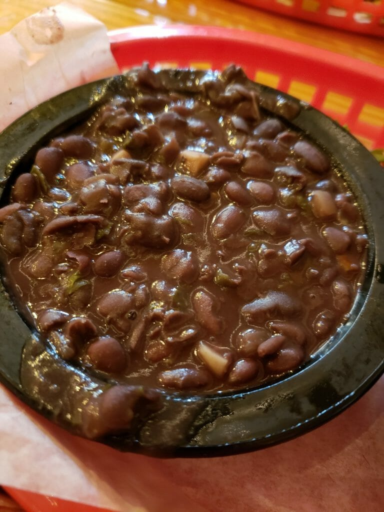 The black beans are rich, flavorful, a must.